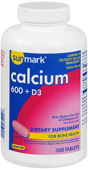 Sunmark Calcium 600 + D3 Dietary Supplement Tablets - 300 TAB