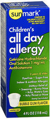Sunmark Children's All Day Allergy Oral Solution Bubble Gum Flavor - 4 OUNCE