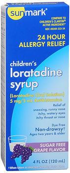 Sunmark Children's Loratadine Syrup Sugar Free Grape Flavor - 4 OUNCE