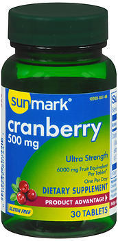 Sunmark Cranberry Ultra Strength 500 mg Dietary Supplement Tablets - 30 CAP