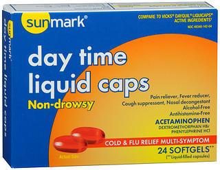 Sunmark Day Time Cold & Flu Relief Multi-Symptoms Liquid Caps - 24 CAP