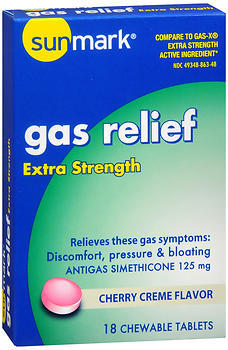 Sunmark Gas Relief Chewable Tablets Extra Strength Cherry Creme Flavor - 18 TAB
