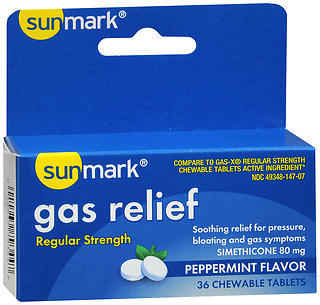 Sunmark Gas Relief Chewable Tablets Regular Strength Peppermint Flavor - 36 TAB