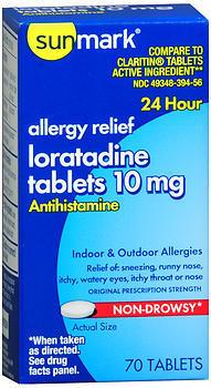 Sunmark Loratidine 10 mg 24 Hour Tablets - 70 TAB