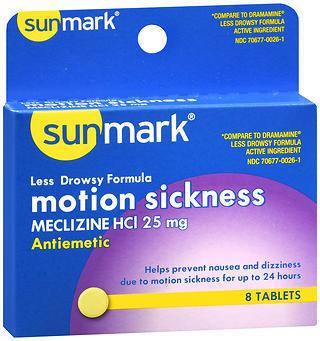 Sunmark Motion Sickness 25 mg Tablets Less Drowsy Formula - 8 TAB