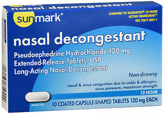 Sunmark Nasal Decongestant 12 Hour Capsule-Shaped Tablets - 10 CAP