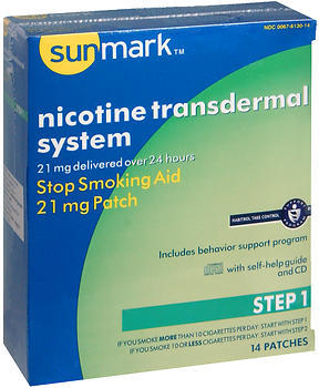 Sunmark Nicotine Transdermal System Step 1 - 21 mg Patches - 14 EACH