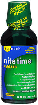 Sunmark Nite Time Cold & Flu Liquid - 12 OUNCE
