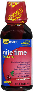 Sunmark Nite Time Cold & Flu Liquid Cherry Flavor - 12 OUNCE