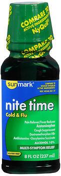 Sunmark Nite Time Cold & Flu Liquid Cherry Flavor - 8 OUNCE