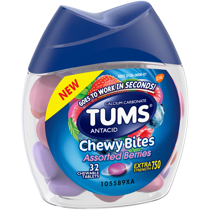 TUMS Extra Strength 750 Antacid Chewy Bites Assorted Berries - 32 EACH