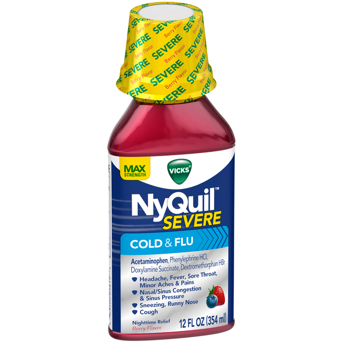 Vicks NyQuil Severe Cold & Flu Liquid Berry Flavor - 12 OUNCE