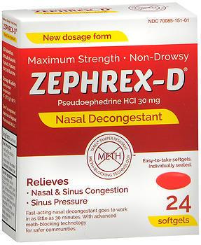 Zephrex-D Nasal Decongestant Softgels - 24 TAB