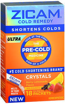 Zicam Ultra Cold Remedy Crystals On-the-Go Packets Berry Lemonade Flavor - 18 EACH