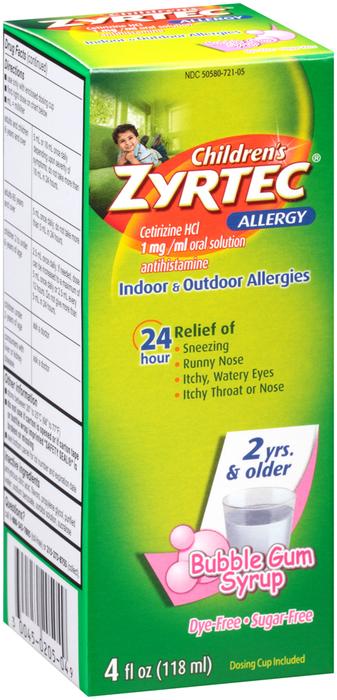 Zyrtec Children's 24 Allergy Syrup Bubble Gum - 4 OUNCE