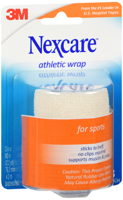"3M Nexcare Self-Adhering Athletic Wrap 3"""" X 5 Yards White 3X5 Pack - 5 YD"