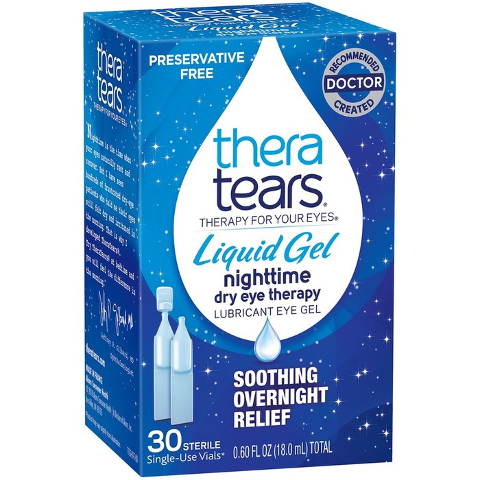 TheraTears Nighttime Dry Eye Therapy Lubricant Liquid Eye Gel - 30 Single-Use Vials (.60 Fl Oz Total)