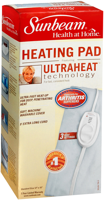 Sunbeam Heating Pad - UltraHeat Technology and 3 Heat Settings (Model: 756-500)