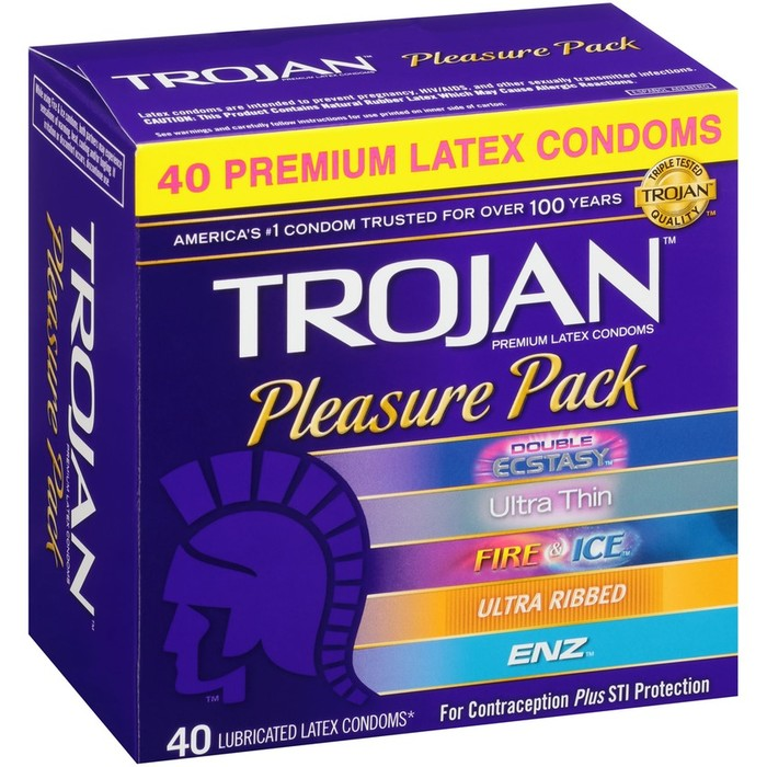 Trojan Pleasure Pack - 40 Premium Latex Condoms  (Double Ecstasy, Ultra Thin, Fire & Ice, Ultra Ribbed & Enz)