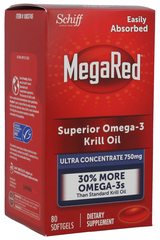 Schiff MegaRed Superior Omega-3 Krill Oil (Ultra Concentrate 750mg) Dietary Supplement - 80 SoftGels