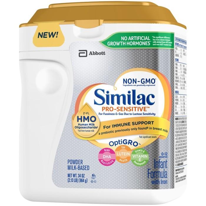 Similac Pro-Sensitive Infant Formula with Iron (0-12 Months) Milk-based Powder - 34 Ounces
