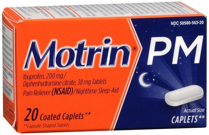 Motrin PM Pain Reliever/Nighttime Sleep Aid Coated Caplets 20 TB
