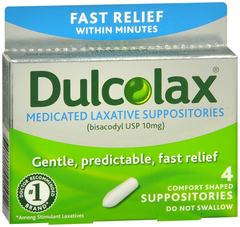 Dulcolax Medicated Laxative Suppositories 4 CT