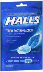 Halls Menthol Cough Suppressant Drops Mentho-Lyptus 30 CT