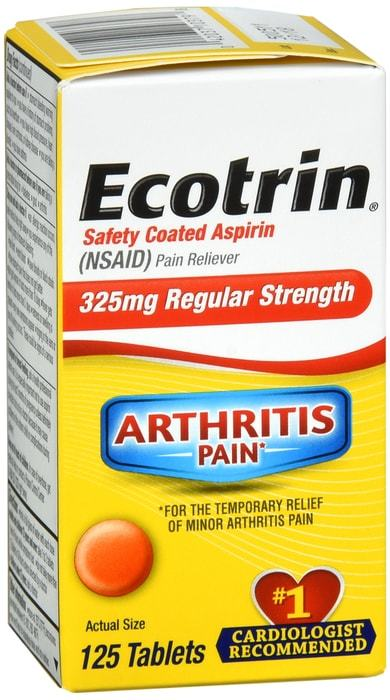 Ecotrin Safety Coated Aspirin 325 mg Regular Strength Tablets 125 CT