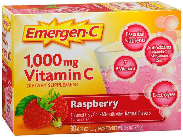 Emergen-C Vitamin C 1000mg Rasberry Dietary Supplement - 30 CT