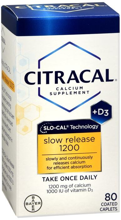 Citracal+D Slow Release Calcuim Supplement - 80 Coated Caplets